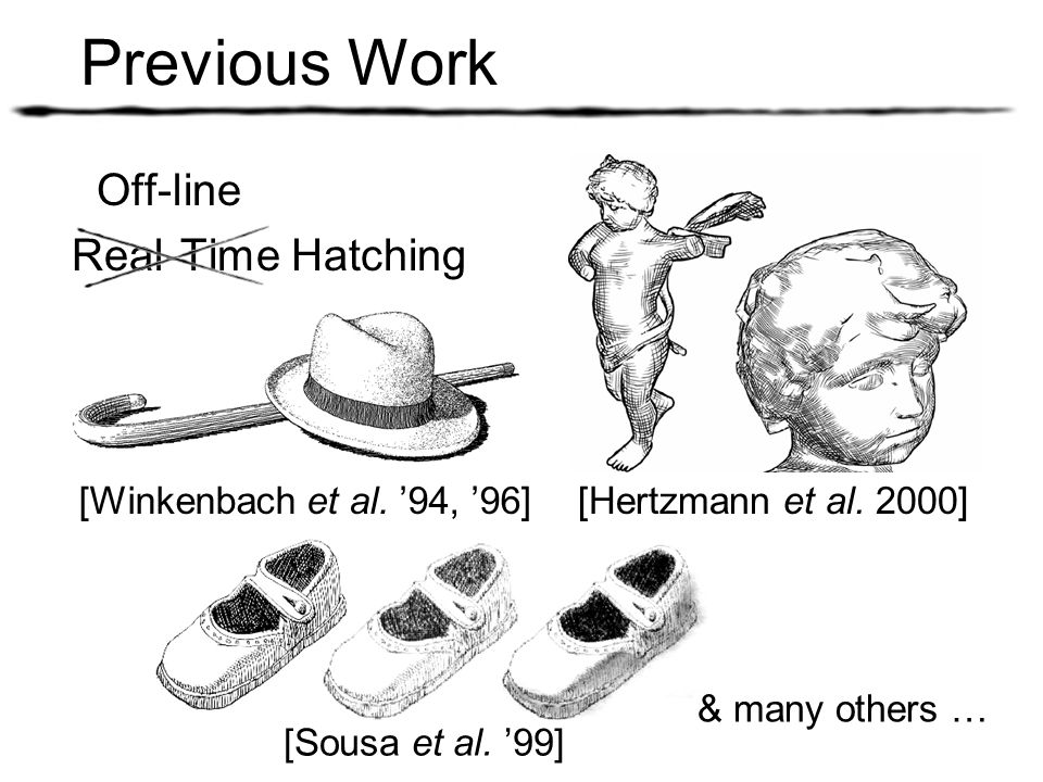 Previous Work Off-line Real-Time Hatching [Hertzmann et al. 2000]
